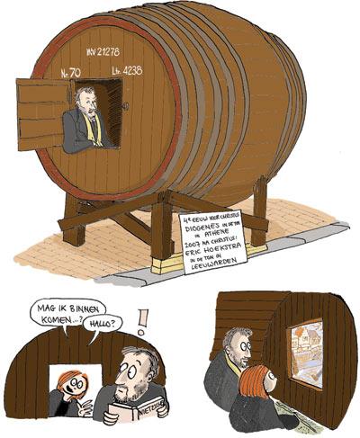 Philosopher in casket